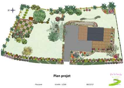 plan projet de l'aménagement du jardin, réalisé numériquement